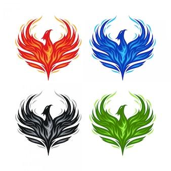 Logo phoenix Vettore Premium