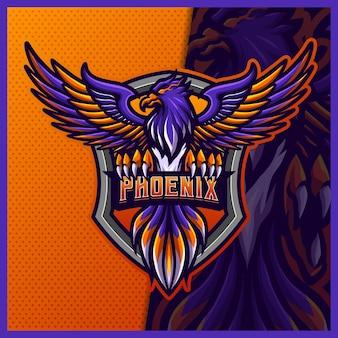 Phoenix mascotte esport logo design modello illustrazioni, logo live bird