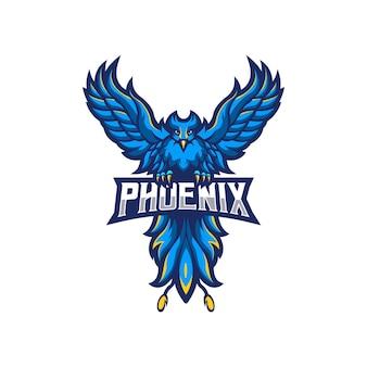 Phoenix mascotte logo design isolato su bianco