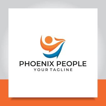 Phoenix persone logo design uccello fuoco
