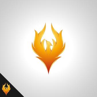 Simbolo di phoenix con il concetto di fuoco d'oro 3d