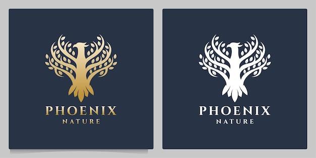 Phoenix tree lussuoso design del logo della natura