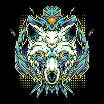 Phoenix wolf mascotte logo illustrazione