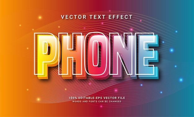 Effetto di testo modificabile 3d del telefono