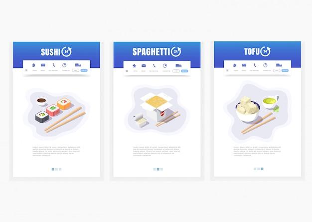 App per telefono, servizio di consegna cibo asiatico, sushi, spaghetti, tofu, 24 ore, grafica di consegna cibo isometrica