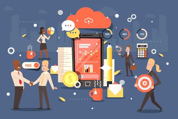 Telefona all'applicazione con le sveglie, fissa l'obiettivo e monitora l'illustrazione di risultato. aiuto negli affari, completando le attività.