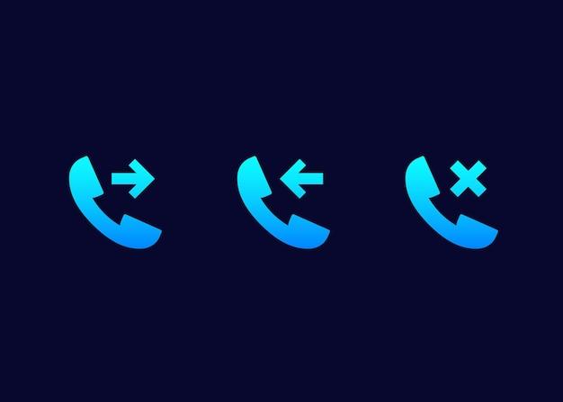 Icone vettoriali di telefonata, in entrata, in uscita e perse