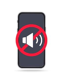 Segno di divieto di chiamata telefonica. icona del dispositivo. nessun telefono cellulare. nessun segnale acustico per il telefono cellulare. volume spento o segno di modalità muto per smartphone. si prega di silenziare il telefono cellulare, la zona di silenzio dello smartphone