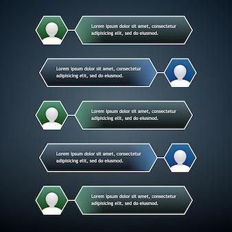 Bolle di chat del telefono con l'icona dell'utente nei colori verde e blu