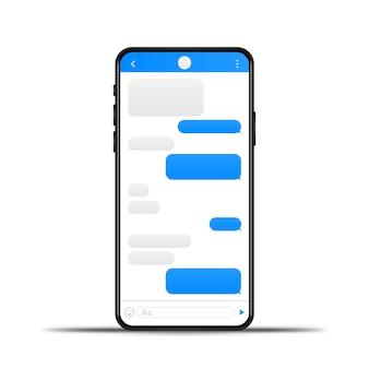 Telefono in chat bolle modello di messaggio. posiziona il tuo testo nelle nuvole di messaggi