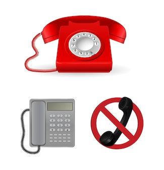 Design classico del telefono con icona del segnale di stop di avvertimento isolato su bianco