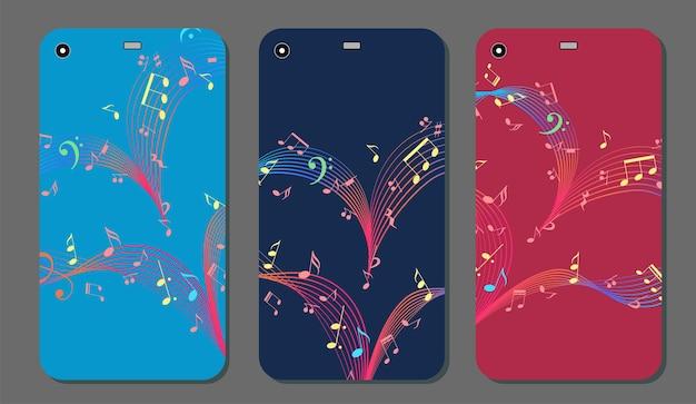 Design della cover del telefono con il vettore del cuore musicale
