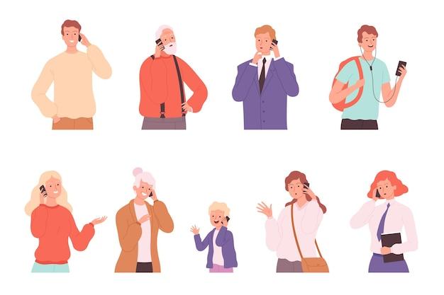 Dialogo telefonico. persone che parlano conversazione maschile e femminile che chiama personaggi che parlano