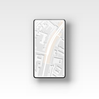 Bussola della mappa di navigazione gps del telefono, posizione della città dell'applicazione.