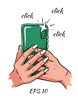 Telefono in mano. la foto. clic. illustrazione vettoriale. isolato su sfondo bianco.
