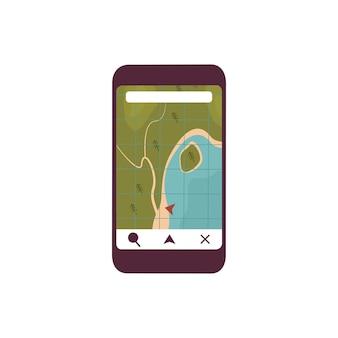 Icona telefono con navigatore e mappa. il soggetto del turista e del viaggiatore