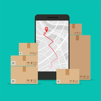 Telefono e mappa di navigazione sullo schermo scatole di cartone, concetto di consegna navigatore gps con punto rosso.