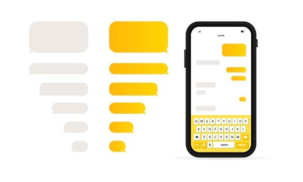 Modello di messaggio telefonico. modello di chat di rete sociale. bolle di chat dei messaggi.
