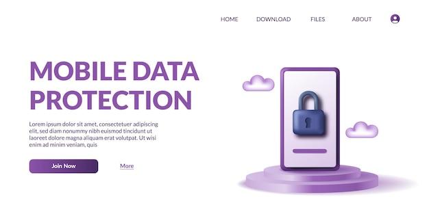 Protezione dei dati mobili del telefono. sicurezza della privacy personale. 3d icona lucchetto carino illustrazione vettoriale con display prodotto podio