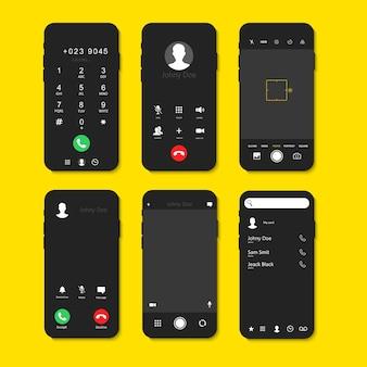 Interfaccia dello schermo del telefono impostata con chiamate e fotocamera