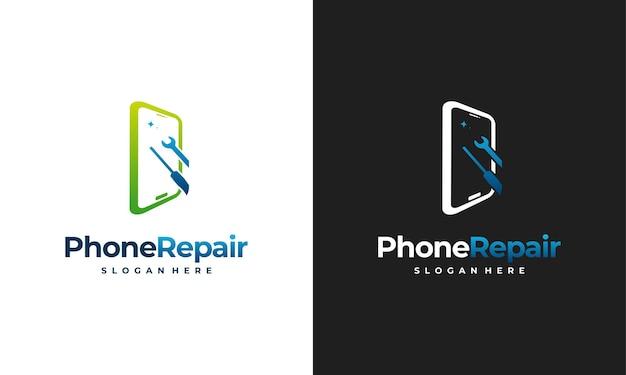 Concetto di design del logo del servizio telefonico, modello del logo di riparazione del telefono