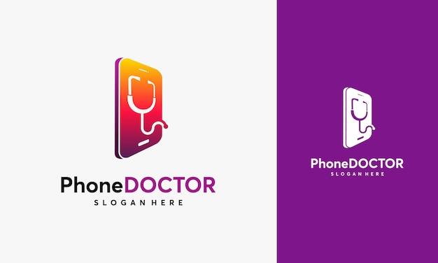 Disegni del modello del logo del servizio telefonico, illustrazione vettoriale del logo del medico del telefono, logo dell'app del medico