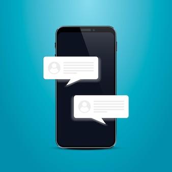Cornice della chat del messaggio di testo del telefono. illustrazione vettoriale