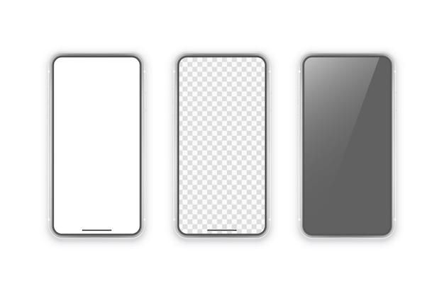 Telefono su sfondo bianco. mock up con schermo vuoto per presentazioni aziendali.