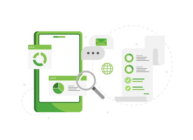 Telefono con analisi aziendali e marketing online verde