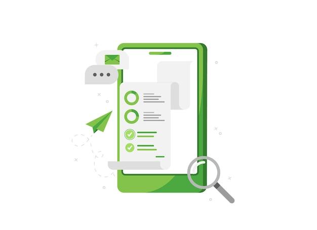 Telefono con analisi aziendali e marketing online