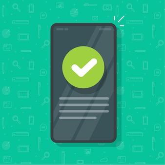 Telefono con segno di spunta come messaggio informativo aggiornato