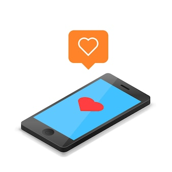 Telefono con un'icona a forma di cuore che mi piace. illustrazione vettoriale