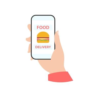 Telefono in mano. consegna del cibo