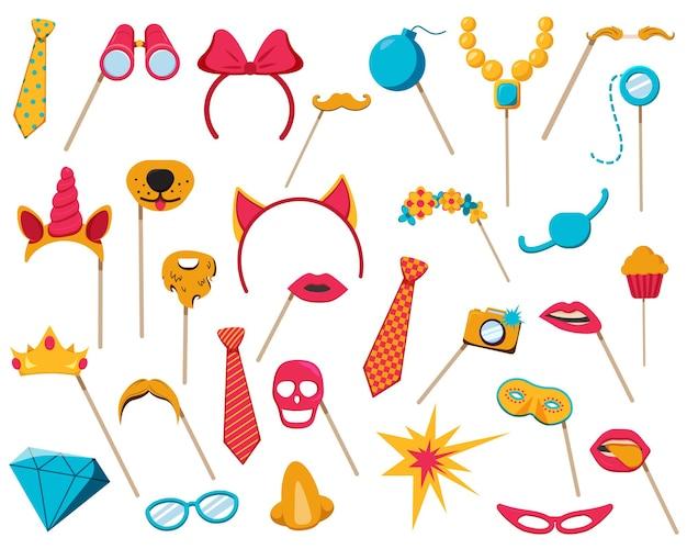 Collezione di accessori per photo booth con maschera cupcake diamante e bicchieri