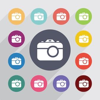 Fotocamera, set di icone piatte. bottoni colorati rotondi. vettore