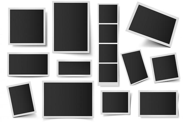 Cornici per schede fotografiche. foto istantanee rettangolari, cornice per istantanee quadrate e foto con set di ombre realistiche. pacchetto di cornici 3d in bianco. bordi di plastica isolati su sfondo bianco