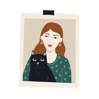 Cartolina fotografica con ragazza e gatto nero design simpatico personaggio vettoriale felice proprietario di animali domestici