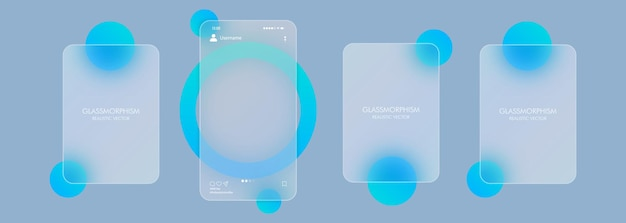 Modello di carosello di foto. concetto di social media. stile del vetromorfismo. illustrazione vettoriale. effetto realistico di morfismo di vetro con set di lastre di vetro trasparente..