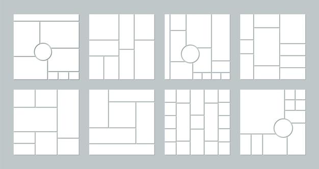Griglia per collage di foto. modello di mood board.