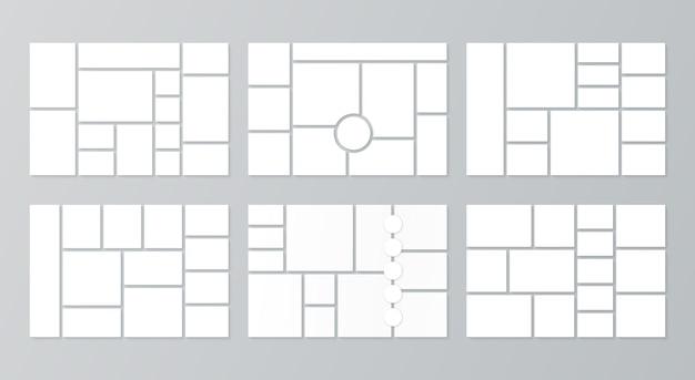 Collage di foto griglia moodboard template set di griglie di immagini cornice mosaico banner Vettore Premium