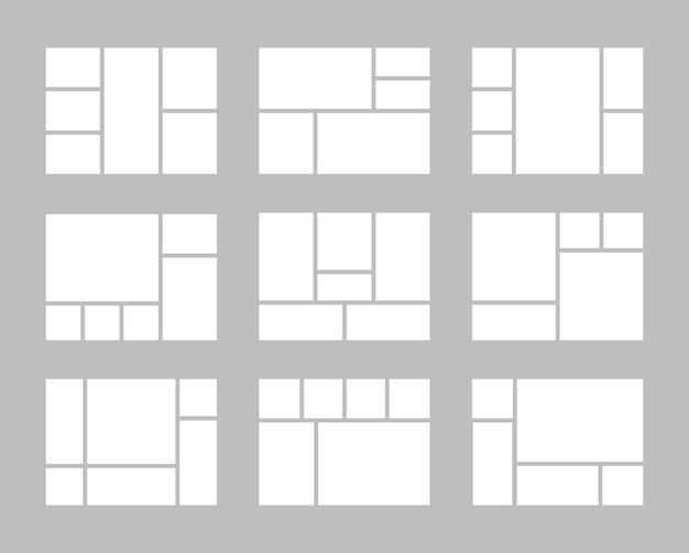 Collage di foto. modelli vettoriali sgargianti di fotografia di layout di cornici di presentazione. interni di collage di fotografie di illustrazioni, album di mockup di banner, forma vuota