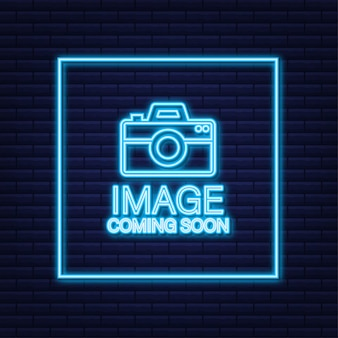 Foto in arrivo. insegna al neon con cornice per foto