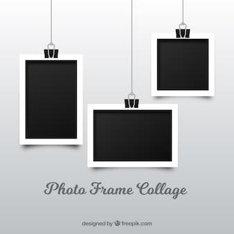 Collage di cornici fotografiche in stile realistico