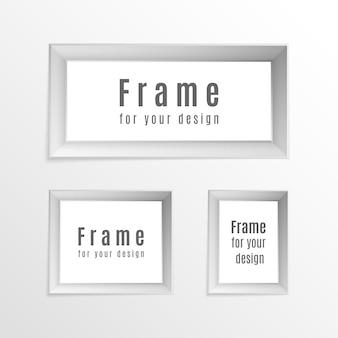Progettazione del layout della cornice. set di cornici per foto realistiche vintage isolato su sfondo trasparente. perfetto per le tue presentazioni.