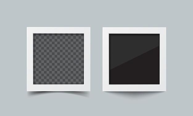 Set di cornici per foto. foto quadrate realistiche di carta vettoriale ispirate alla polaroid
