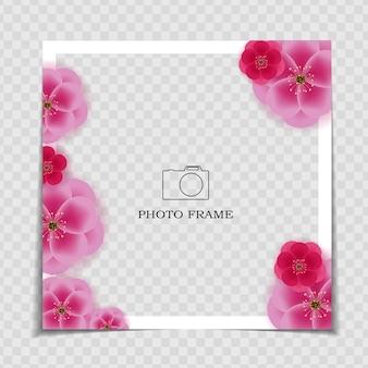 Modello di cornice per foto. sarura, post sui social media di fiori di prugna Vettore Premium