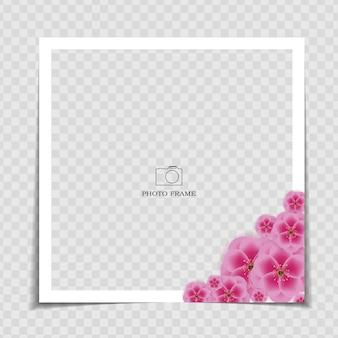 Modello di cornice per foto. sarura, post sui social media di fiori di prugna