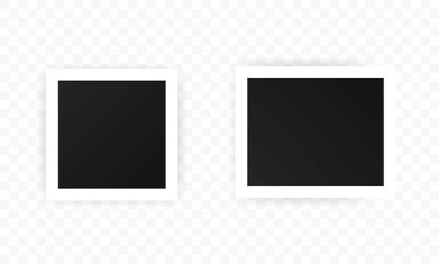 Set di icone di cornici per foto, mockup di cornici nere quadrate realistiche, set di vettori. modello per foto, pittura, poster, scritte o galleria fotografica. vettore eps 10. isolato su sfondo trasparente.