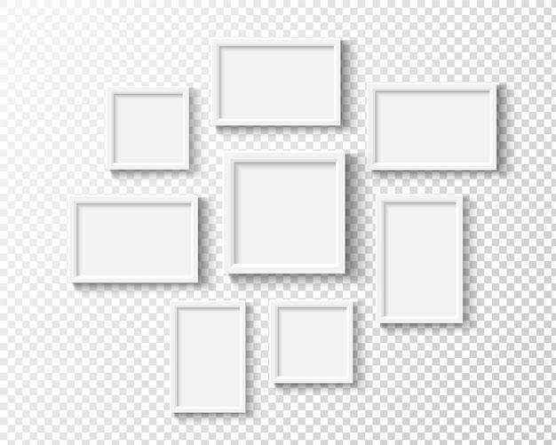 Cornici per foto sulla parete set di cornici bianche vettoriali galleria realistica vuota