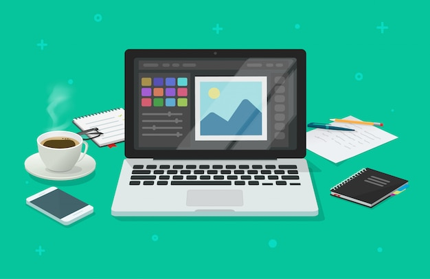 Foto o redattore grafico sull'illustrazione piana del fumetto dello scrittorio funzionante dell'ufficio del computer portatile